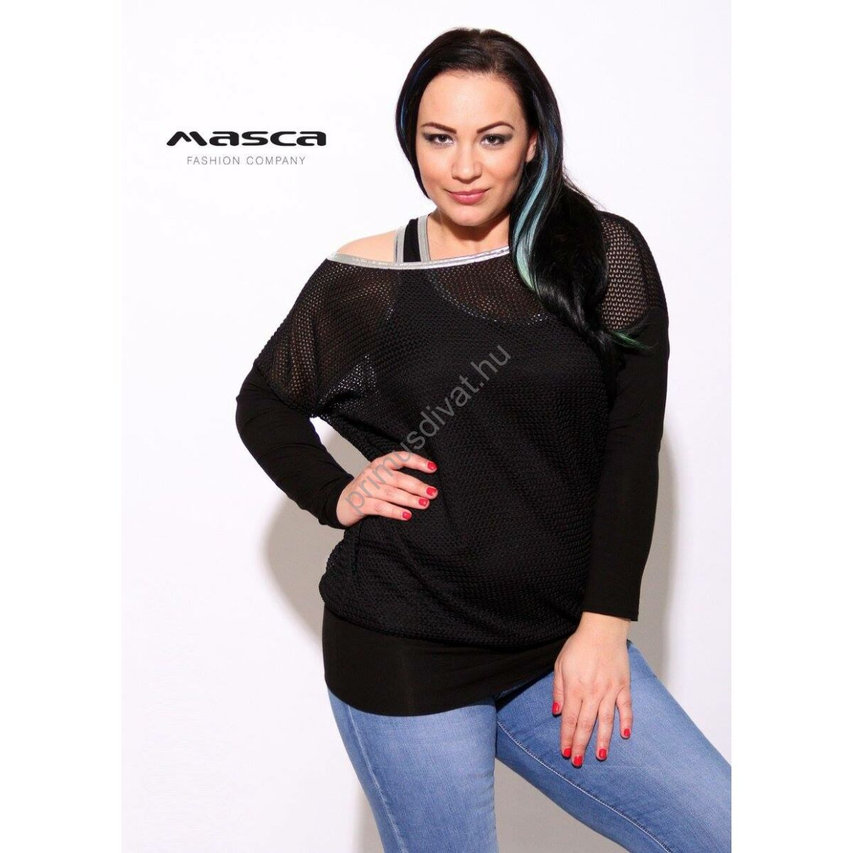 Masca Fashion trikópántos fekete felső bő necces felső réteggel 9551ff4967