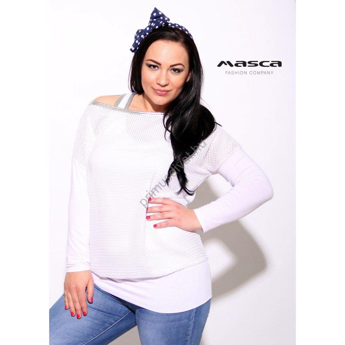 Masca Fashion trikópántos fehér felső bő necces felső réteggel 2578221808