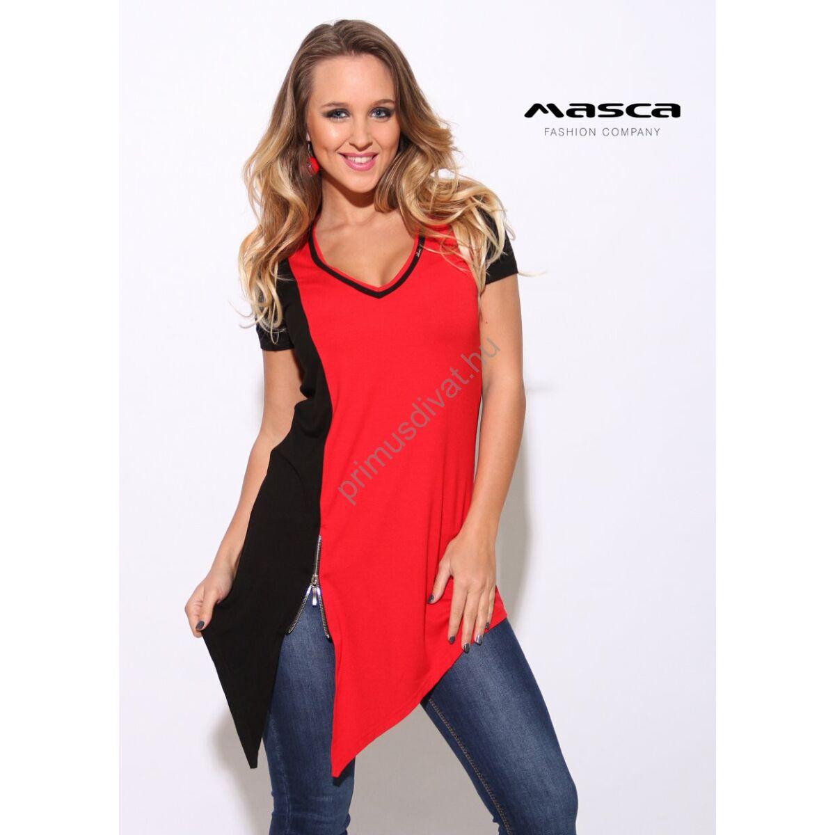 583880c739 Kép 1/1 - Masca Fashion aszimmetrikusan ferdén szabott aljú, rövid ujjú  piros-fekete tunika, cipzár díszítéssel