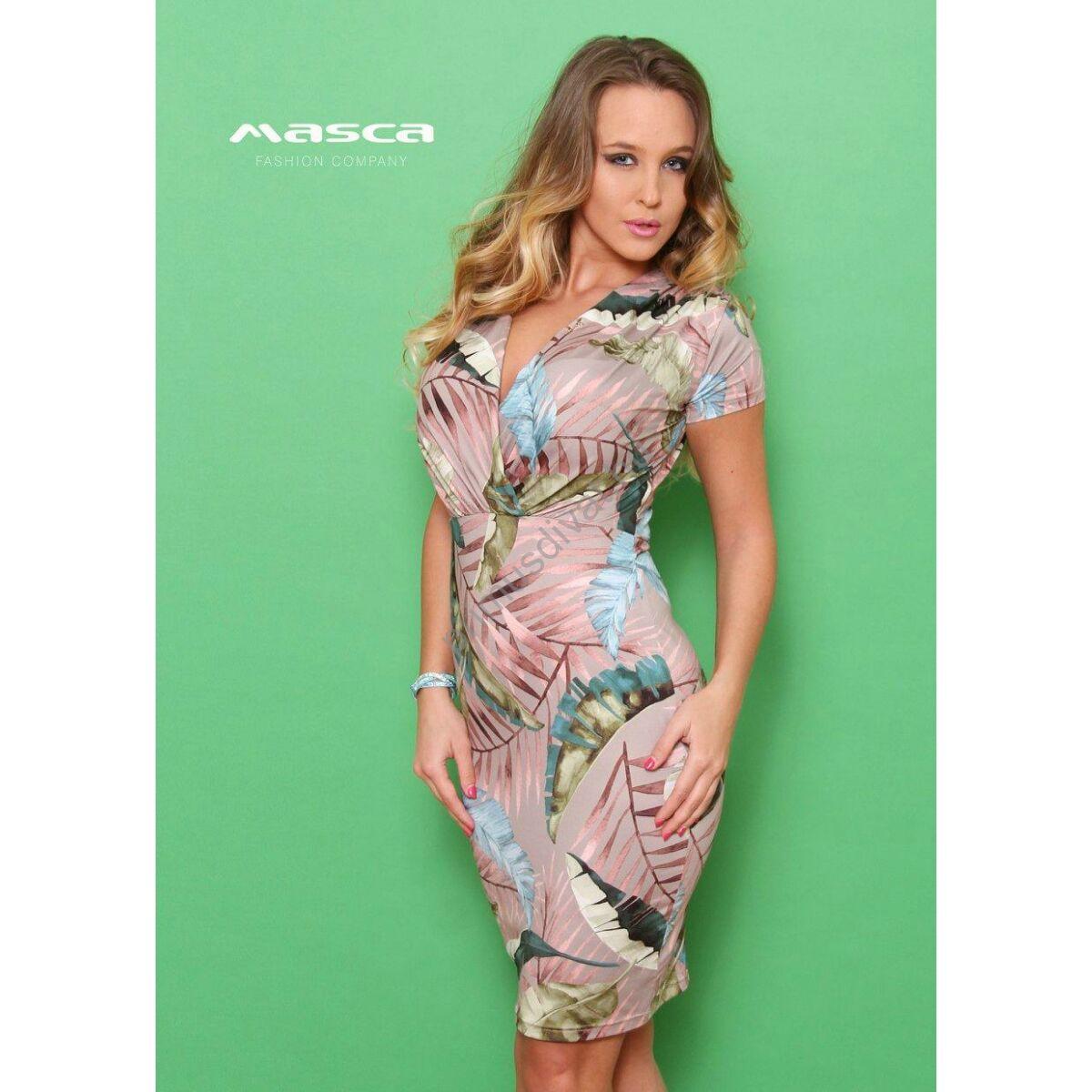 Masca Fashion átlapolt levélmintás mályva színű rövid ujjú ruha 03bc5e0e4e