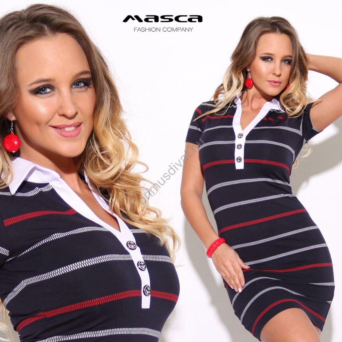 Kép 1 2 - Masca Fashion piros-fehér csíkos sötétkék rövid ujjú miniruha 3bad00b678