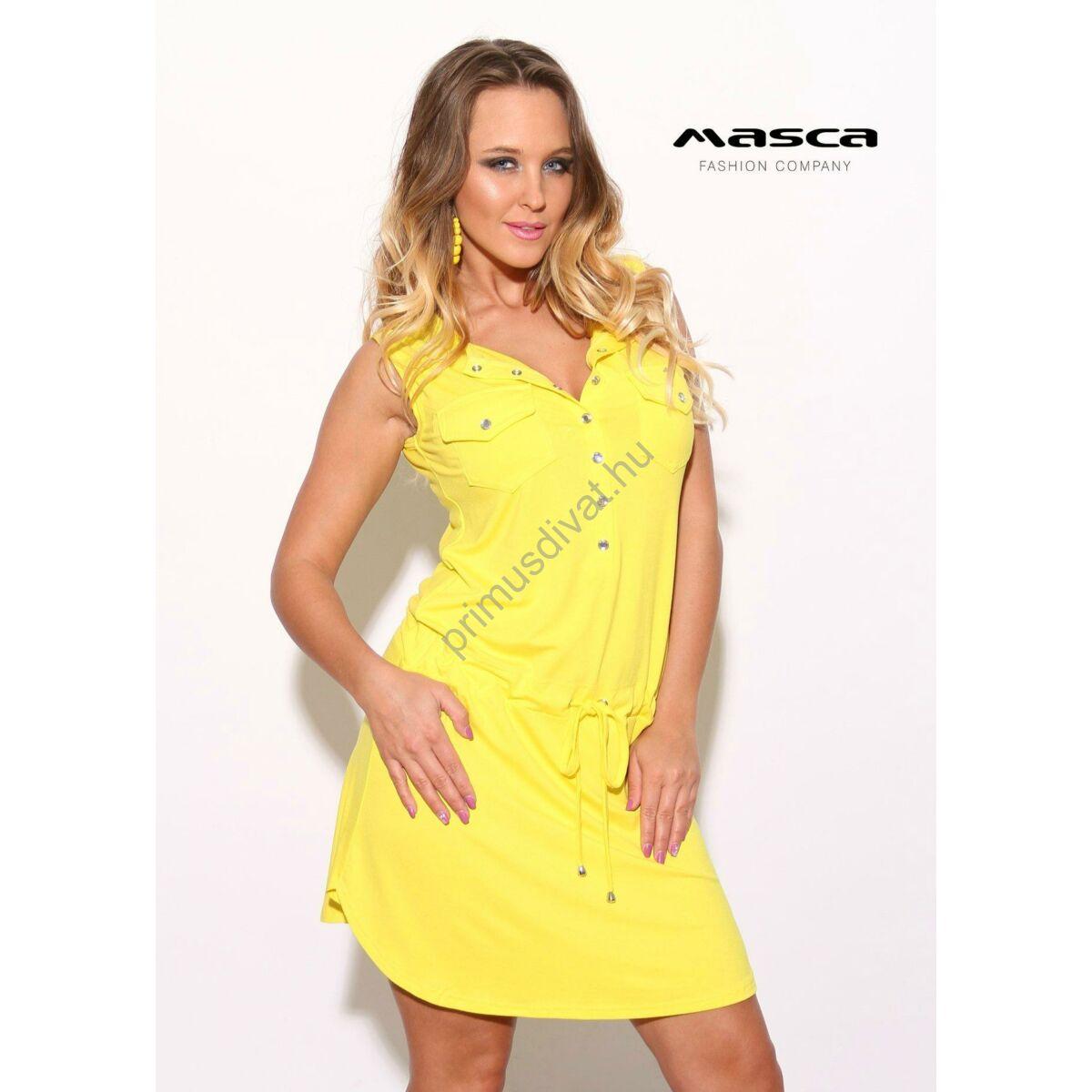 596d1903b Masca Fashion ékszerpatentos dekoltázsú, galléros citromsárga tunika,  derekán behúzott megkötővel - Mf814-10