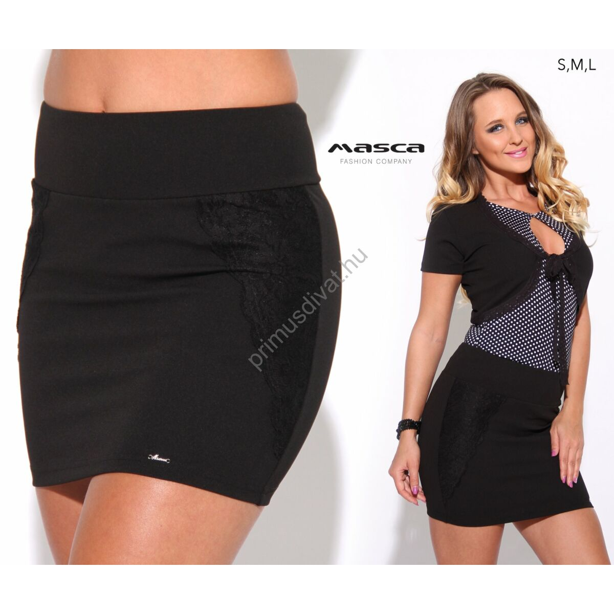 adf173dc14 Masca Fashion magasított derekú, oldalán csipkerátétes rugalmas fekete  miniszoknya