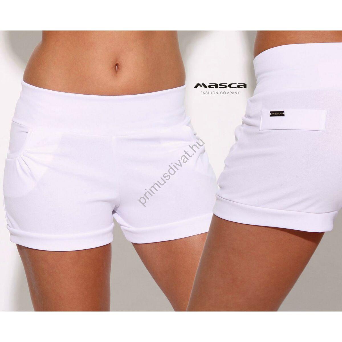 42d048177b Kép 1/2 - Masca Fashion magasított derekú zsebes fehér sort, rövidnadrág