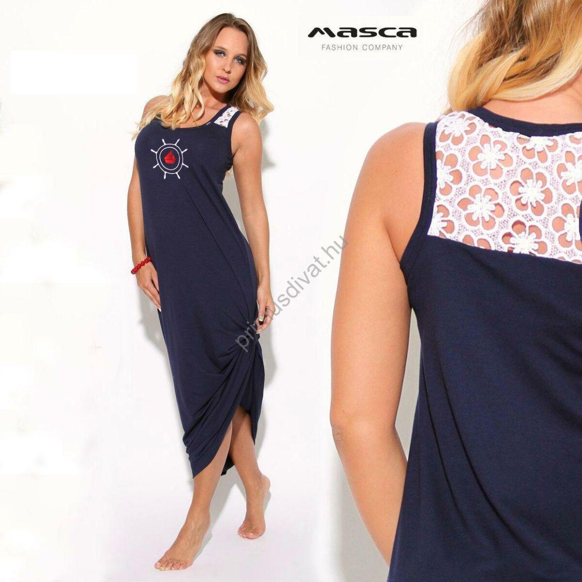 Masca Fashion fehér madeira betétes vállú sötétkék ujjatlan maxi ruha c80581e3cd