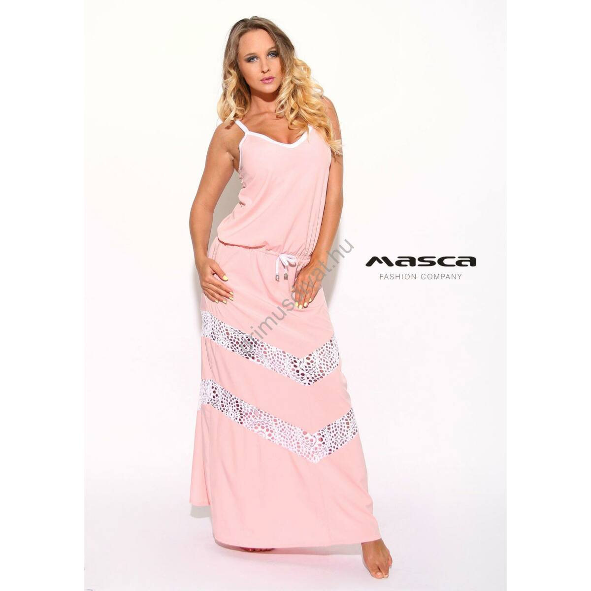 Kép 1 1 - Masca Fashion spagettipántos púder-rózsaszín maxi ruha 4c3df9bef9