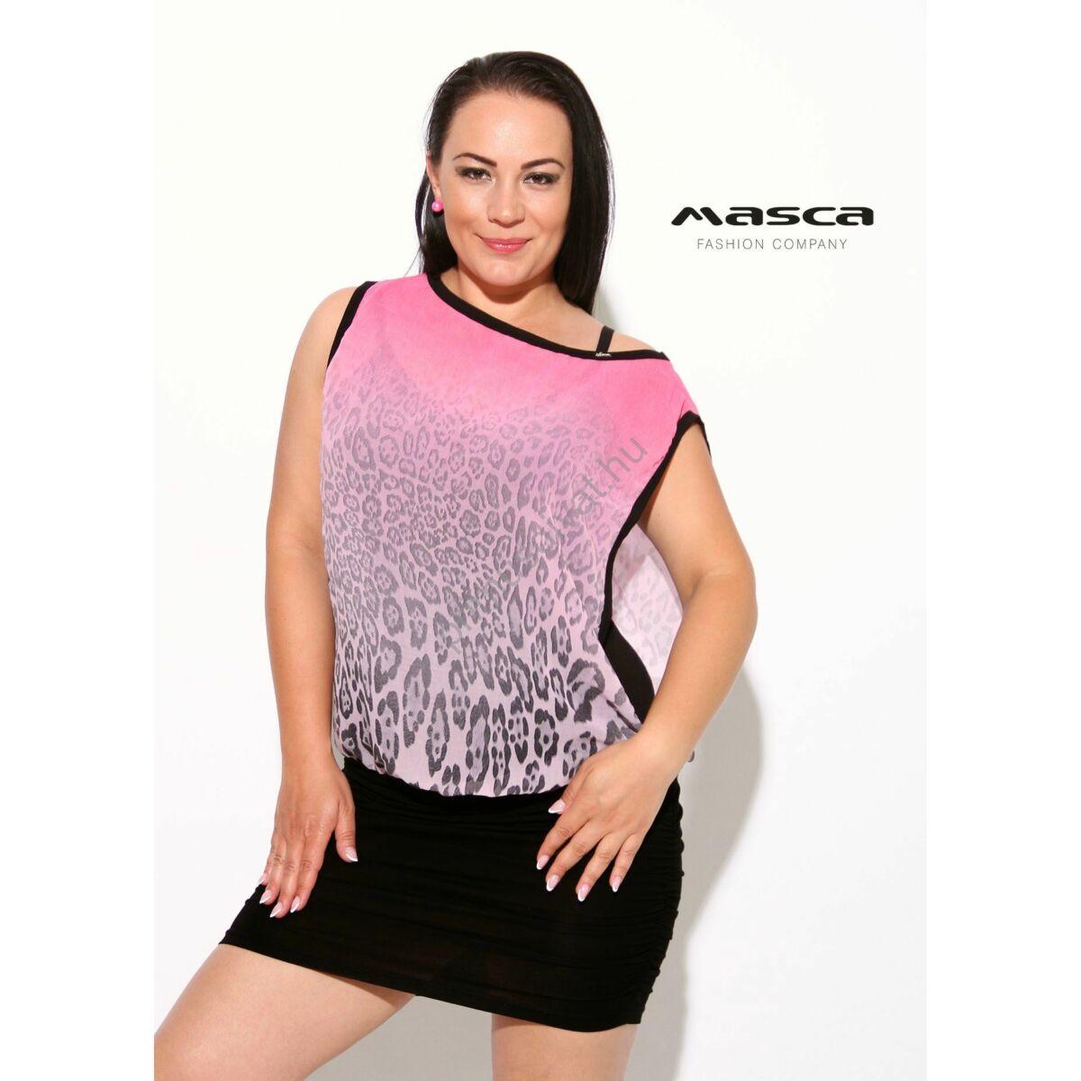 7c44acc0f8 Kép 1/1 - Masca Fashion kétrétegű, pink színátmenetes laza muszlin  előrészű, spagettipántos fekete miniruha, ráncolt szoknyarésszel