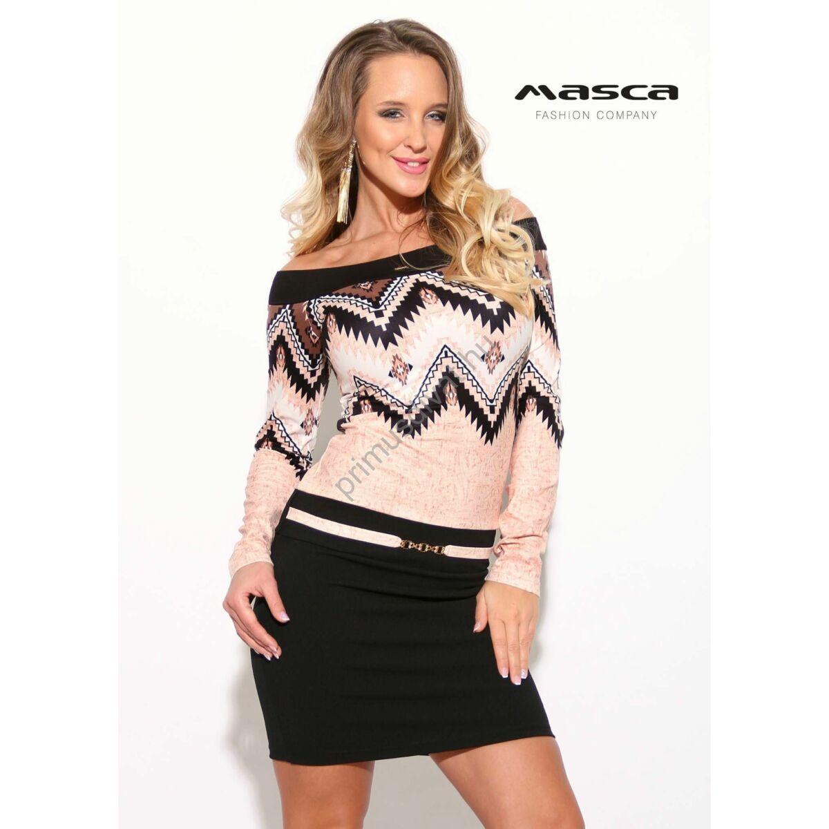 Masca Fashion vállra húzós, azték mintás, fekete szoknyarészű miniruha, elején övpánttal