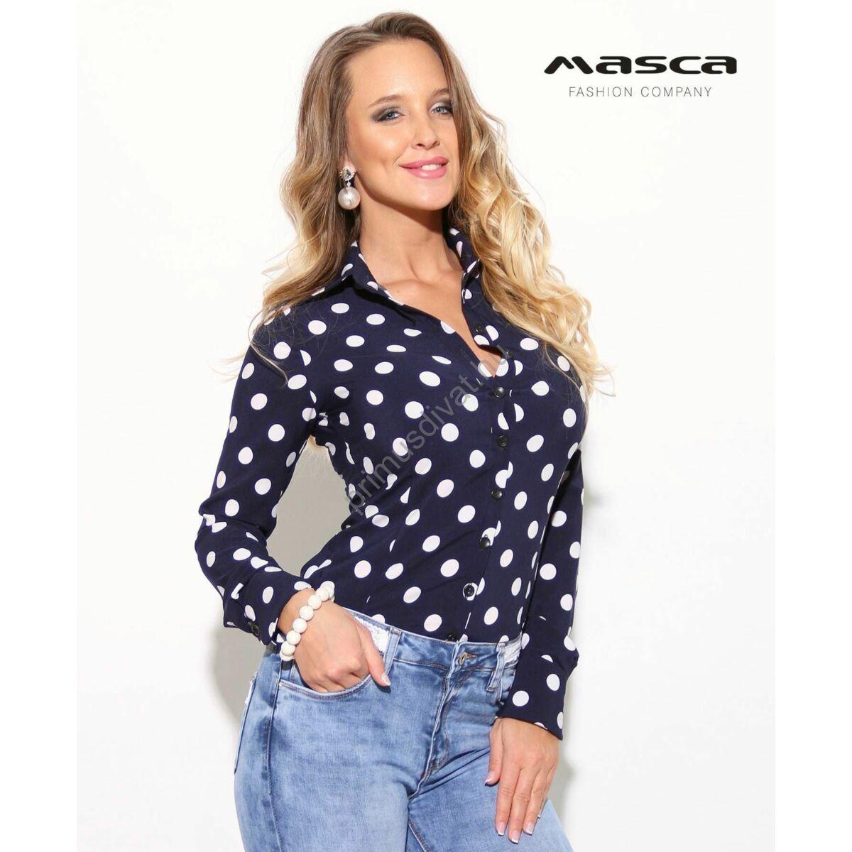 415dad02fb Kép 1/2 - Masca Fashion kék-fehér pöttyös rugalmas anyagú hosszú ujjú  ingblúz