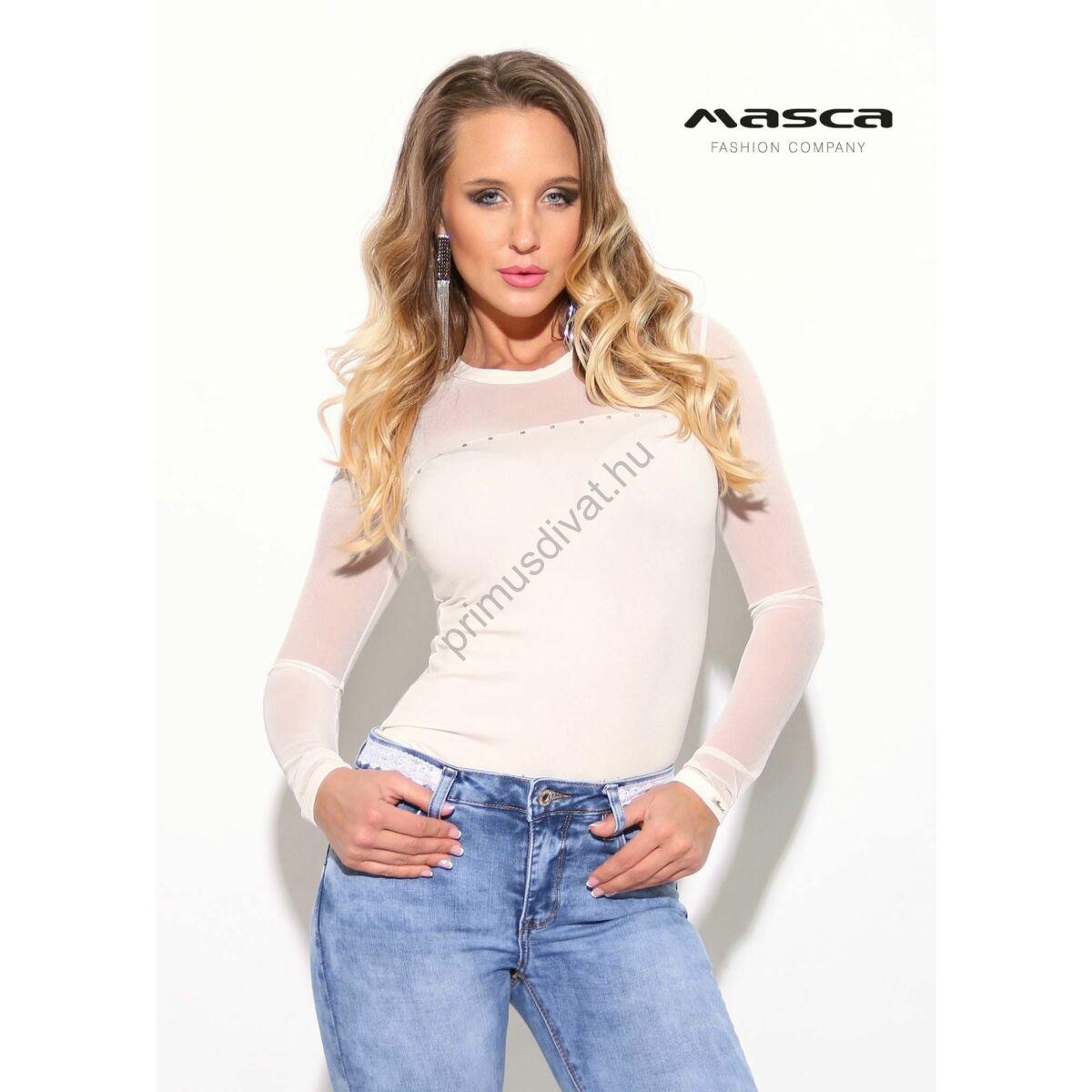 593f6b0afe Kép 1/1 - Masca Fashion környakas, rugalmas muszlin hosszú ujjú törtfehér  felső, mellén strasszkövekkel