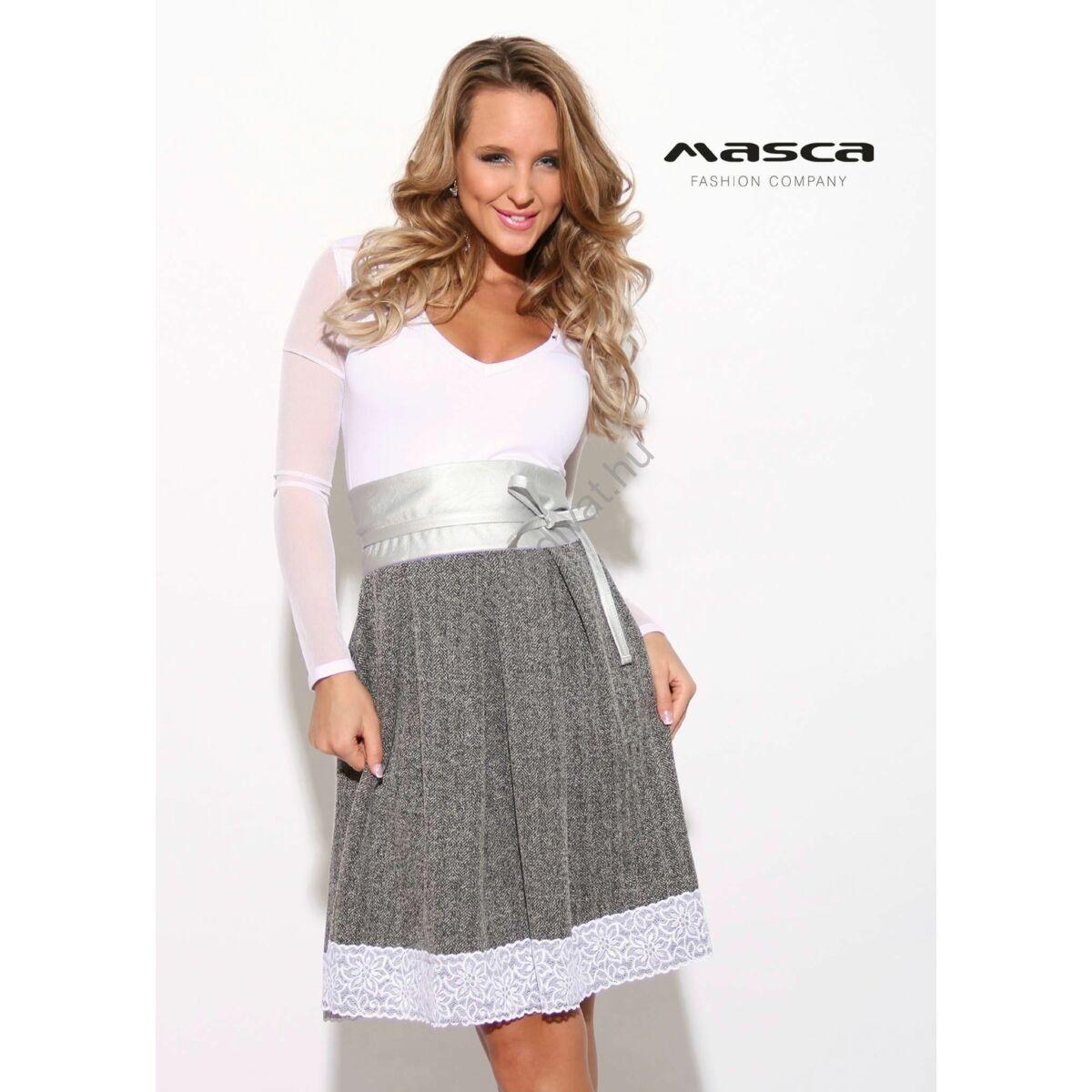 8e5182823 Masca Fashion muszlin ujjú halszálkás, loknis csipkeszegélyes szoknyarészű  szürke-fehér ruha, ezüst műbőr övvel - Mf902-36
