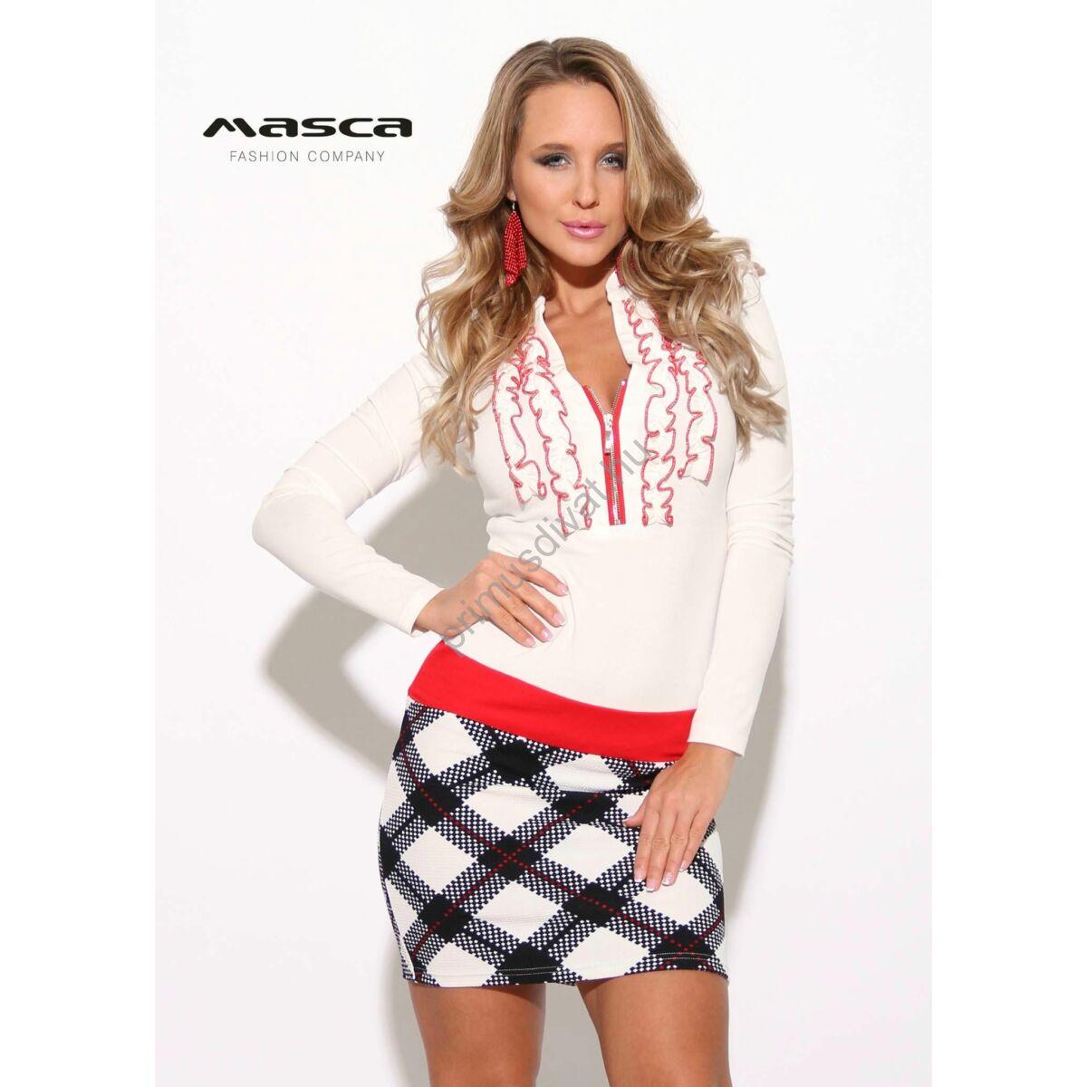 9a62087775 Kép 1/1 - Masca Fashion piros tűzésű fodros, cipzáras dekoltázsú fehér  hosszú ujjú miniruha, burberry kockás szoknyarésszel