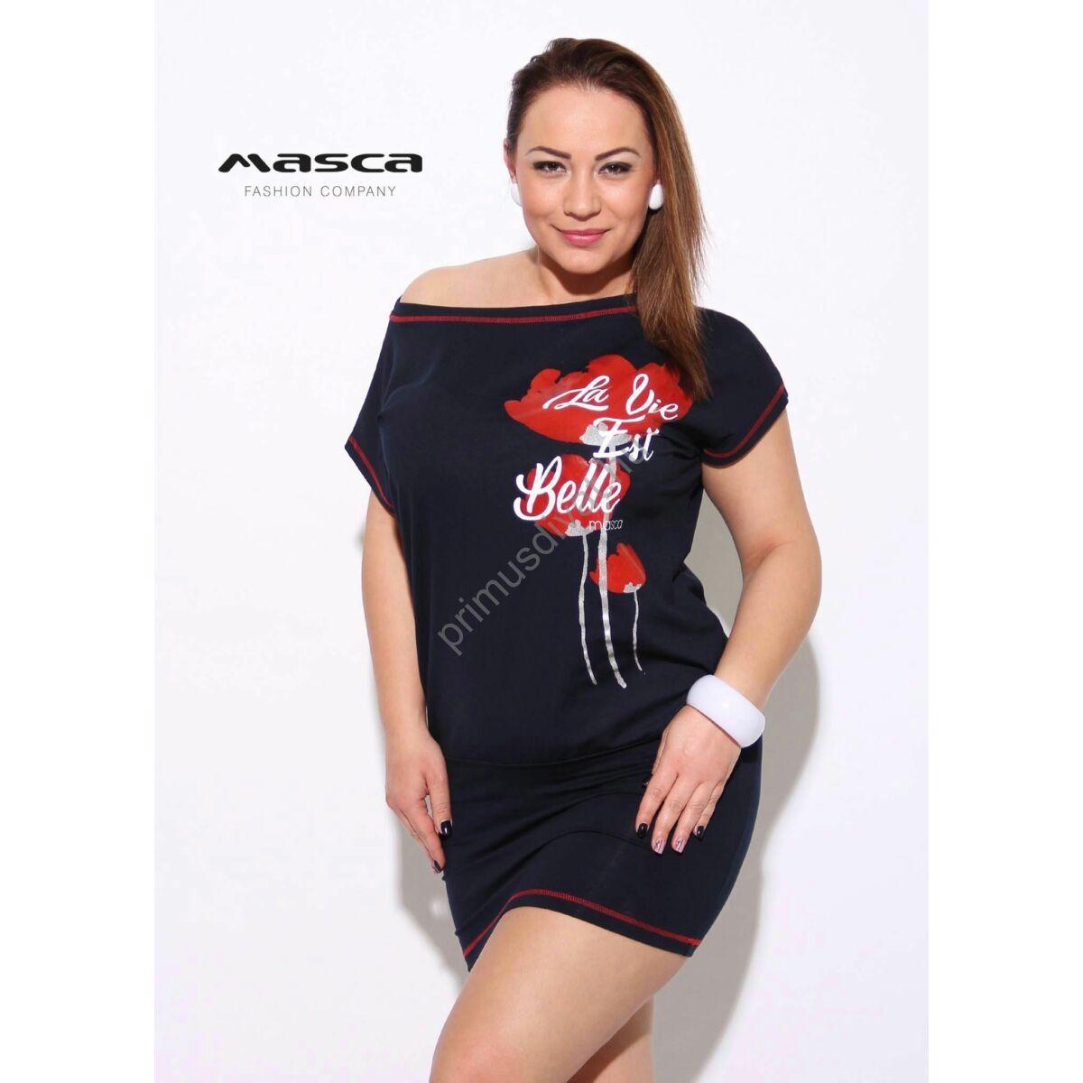 b297507364 Kép 1/1 - Masca Fashion piros tűzésű csónaknyakú, rövid ujjú sötétkék  lezser tunika, miniruha