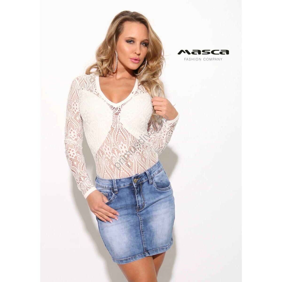 41a8161cce Kép 1/1 - Masca Fashion rafináltan alábélelt hosszú ujjú rugalmas fehér  csipke body