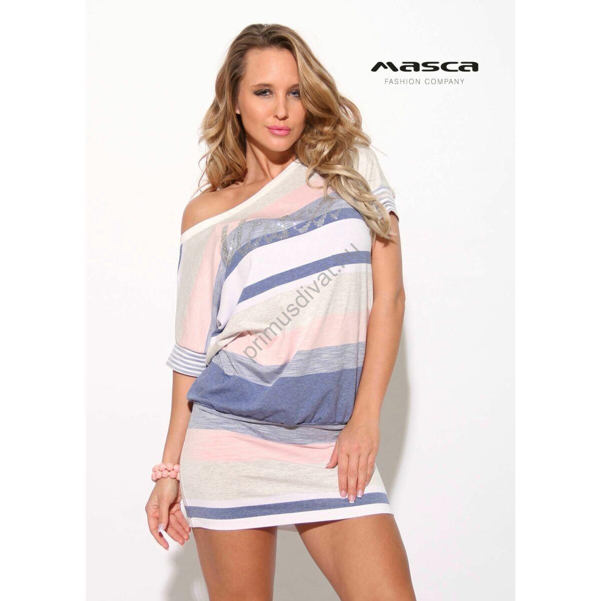 668282aafb Kép 1/1 - Masca Fashion csónaknyakú, pasztell csíkos rövid ujjú lezser  tunika, miniruha, strasszköves márkafelirattal
