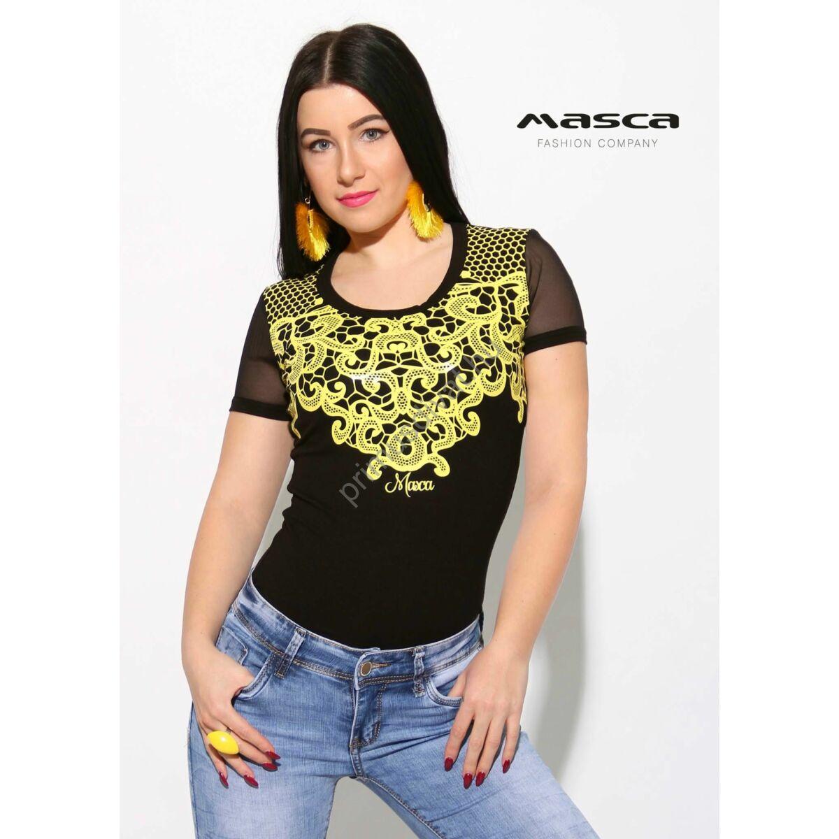 Masca Fashion rugalmas necc rövid ujjú fekete felső citromsárga ... 8b2cfbf506