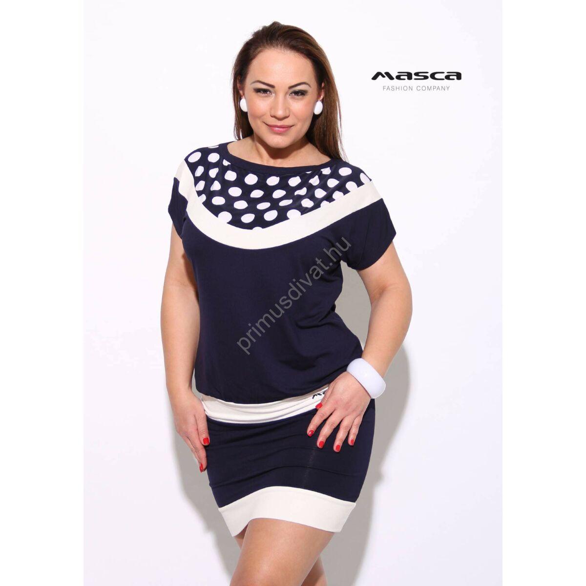 0e54669b3a Kép 1/1 - Masca Fashion fehér pöttyös betétes sötétkék csónaknyakú rövid  ujjú lezser tunika, miniruha