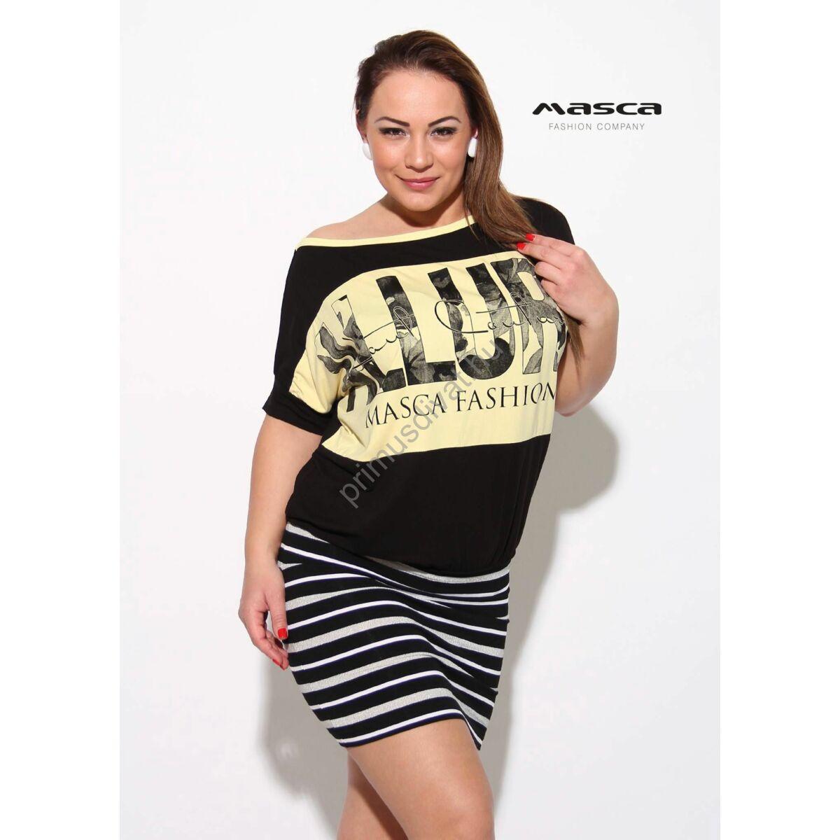 bdc5ef9951 Kép 1/1 - Masca Fashion csónaknyakú, rövid denevérujjú lurexes fehér csíkos  szoknyarészű fekete bő tunika, miniruha, vanília-sárga nyomott mintával