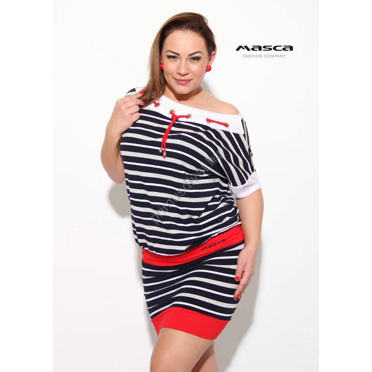 9895b96606 Kép 1/1 - Masca Fashion ékszerkarikás fűzős csónaknyakú kék-fehér  tengerészcsíkos, piros betétes lezser tunika, miniruha