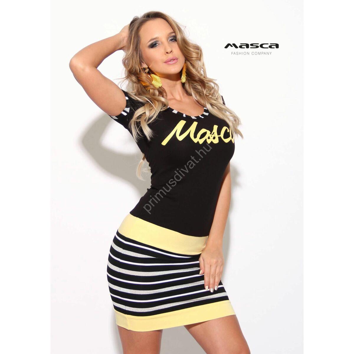 76993ecfc443 Kép 1/1 - Masca Fashion lurexes fehér csíkos betétes fekete rövid ujjú  miniruha, vanília-sárga betétekkel, márkafelirattal