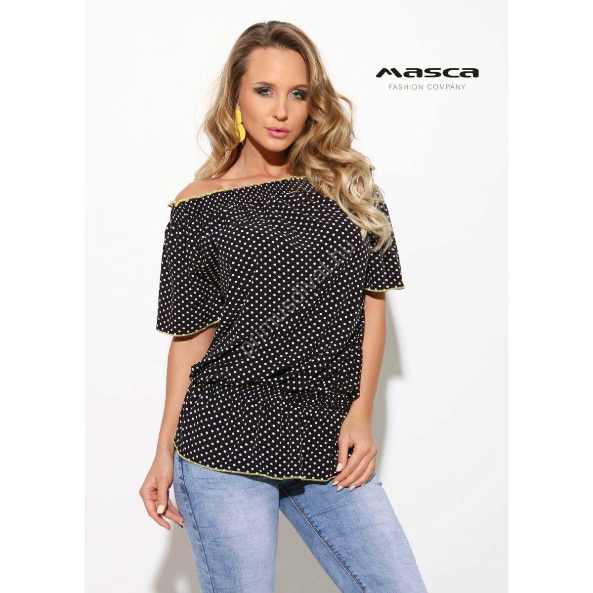 dd2e1b5cb0 Kép 1/1 - Masca Fashion vállra húzható gumírozott nyakú fekete-fehér  pöttyös lezser rövid ujjú felső, sárga tűzésekkel