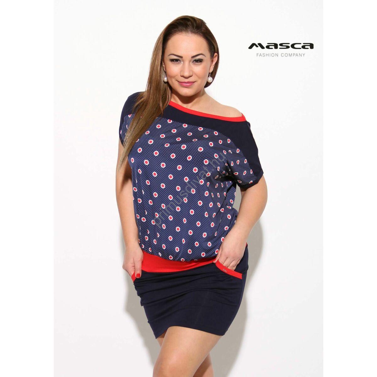 882af8f043 Kép 1/1 - Masca Fashion piros-fehér pöttyös betétes csónaknyakú, sötétkék  rövid ujjú lezser zsebes tunika, miniruha