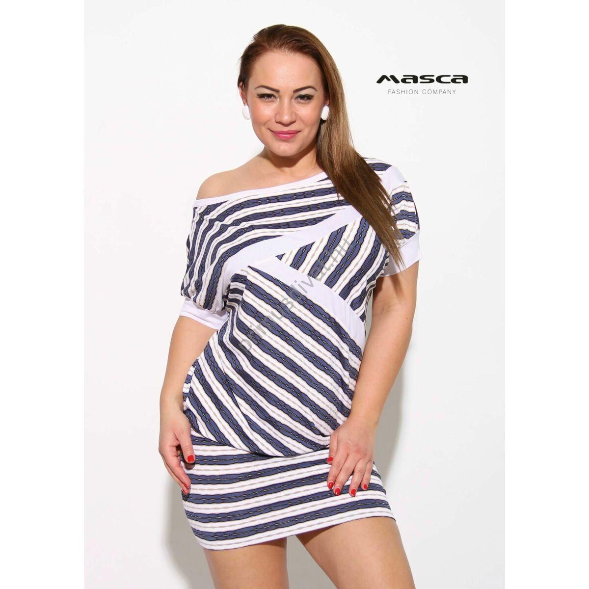 eba2159372 Kép 1/1 - Masca Fashion csónaknyakú, rövid denevérujjú, átlós kék-fehér  hullámos csíkos lezser tunika, miniruha