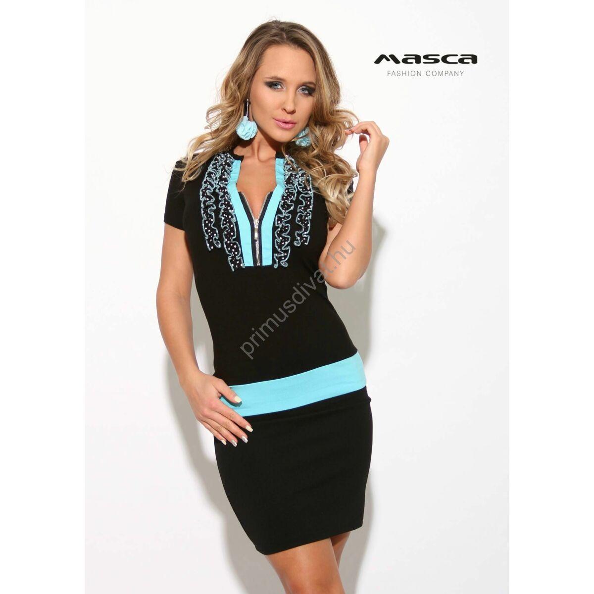 8b20309740 Kép 1/1 - Masca Fashion világoskék tűzésű fodorszegélyes, cipzáras  dekoltázsú fekete rövid ujjú miniruha
