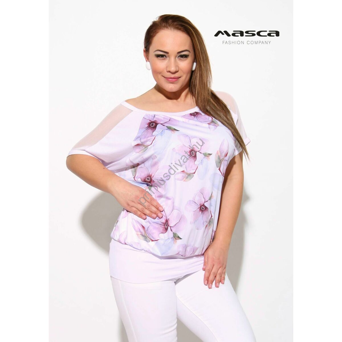 4fb301c43f Kép 1/1 - Masca Fashion halványlila virágmintás csónaknyakú, necc betétes  rövid denevérujjú lezser fehér felső