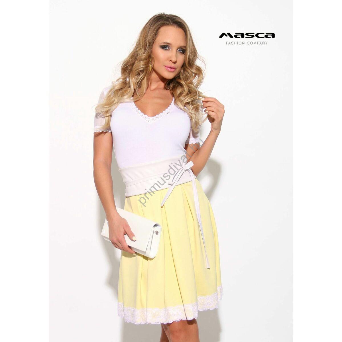 b938bf8ba Masca Fashion loknis csipkeszegélyes szoknyarészű, rövid muszlin ujjú  sárga-fehér alkalmi ruha, megkötős műbőr övvel - Mf908-23