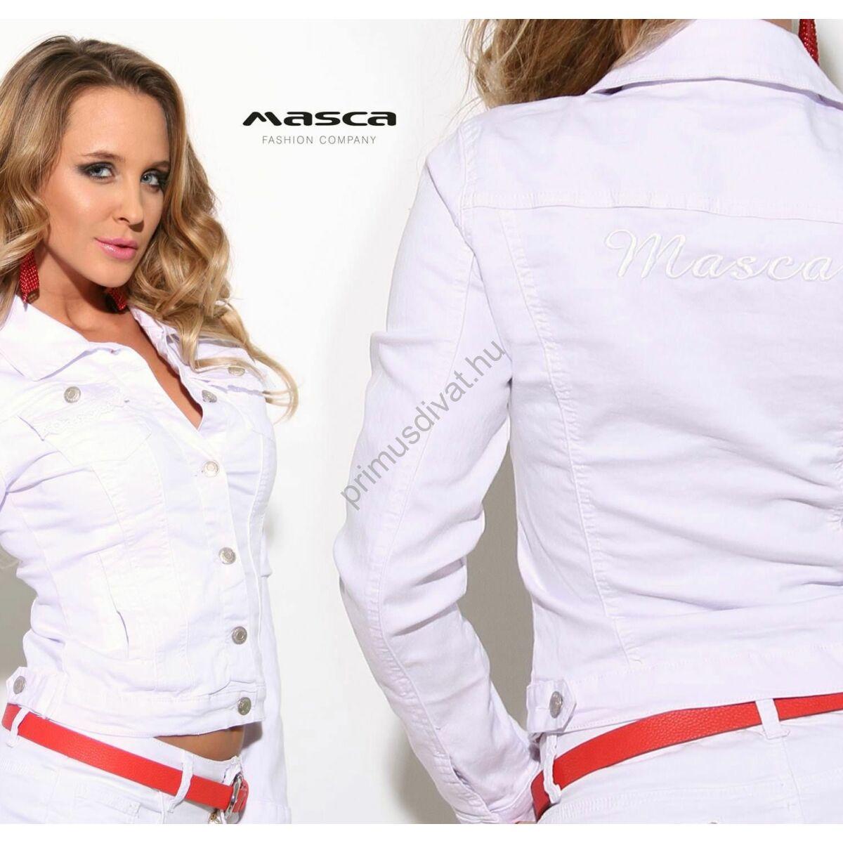 70c22ad2ba Masca Fashion fehér csipkeszegély díszítésű rugalmas fehér farmerdzseki,  hátán hímzett márkafelirattal