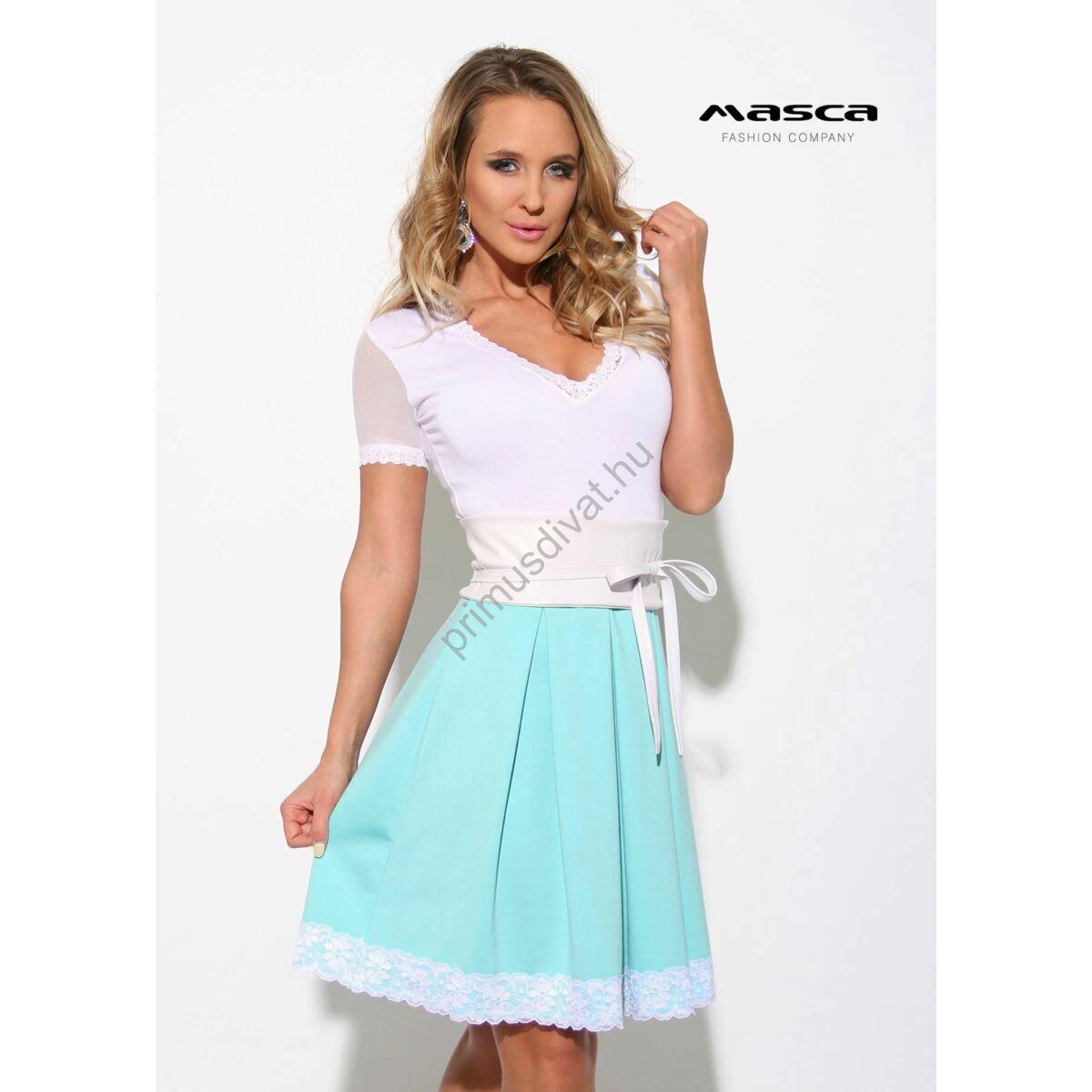 Masca Fashion loknis csipkeszegélyes rövid muszlin ujjú világoskék ... 7fe2dfc81c