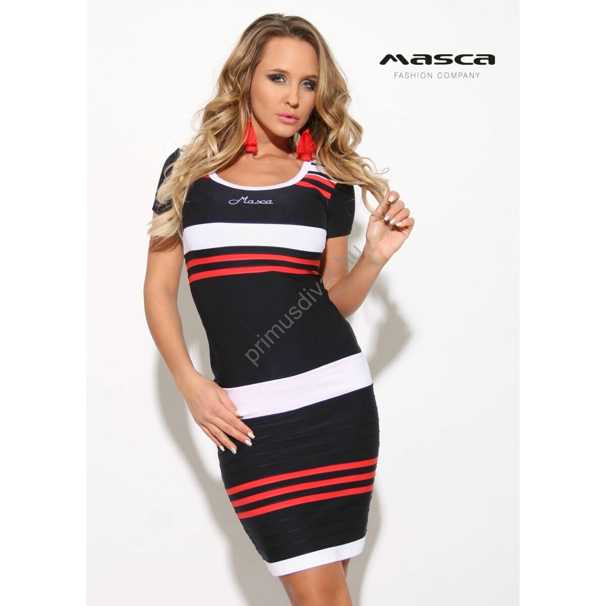 5d63a8786a Kép 1/1 - Masca Fashion környakas, rövid ujjú piros-fehér csíkos sötétkék  szűk miniruha