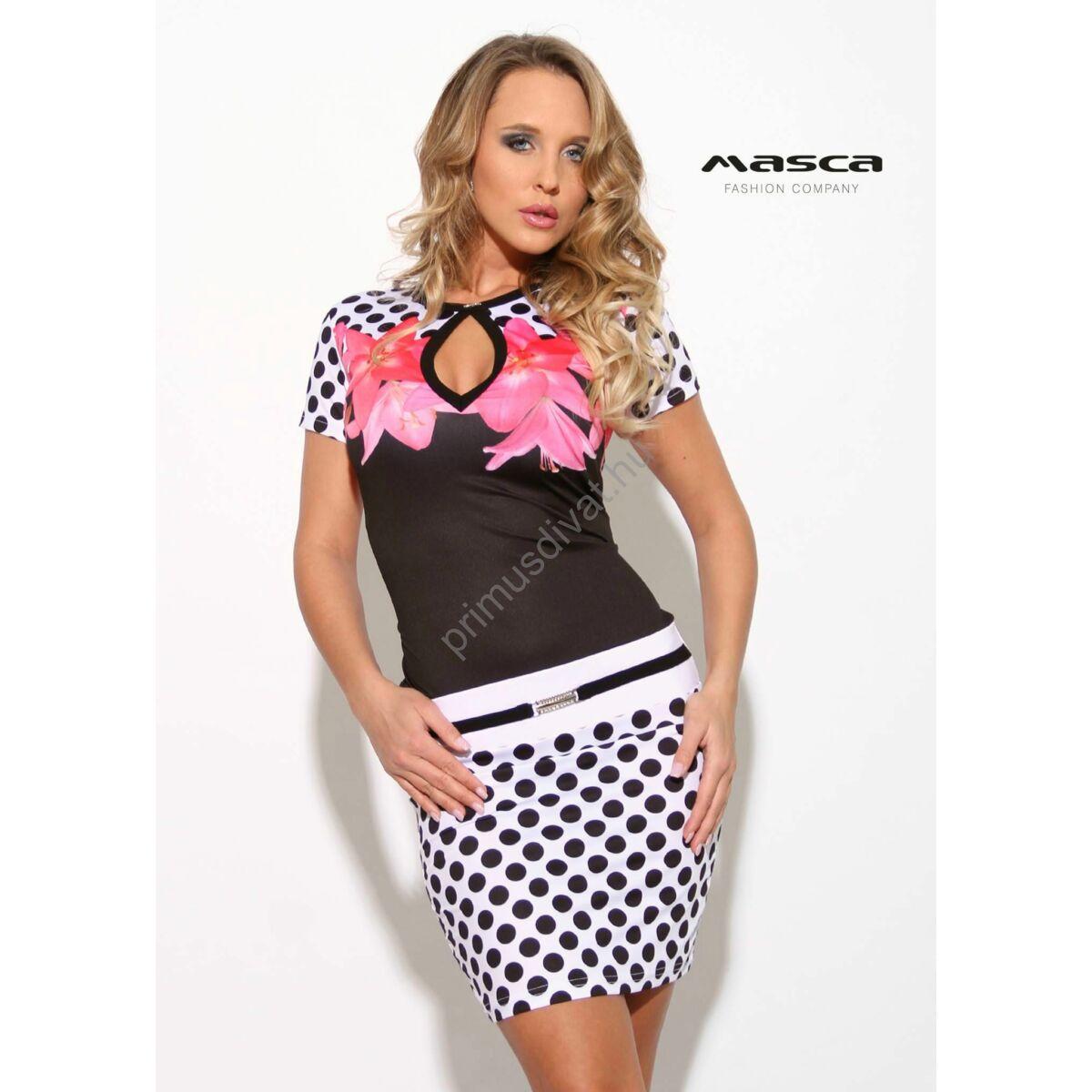 f58b656d9cb7 Kép 1/1 - Masca Fashion csepp-kivágott dekoltázsú virágos fekete-fehér  pöttyös rövid ujjú szűk miniruha, elején övpánttal