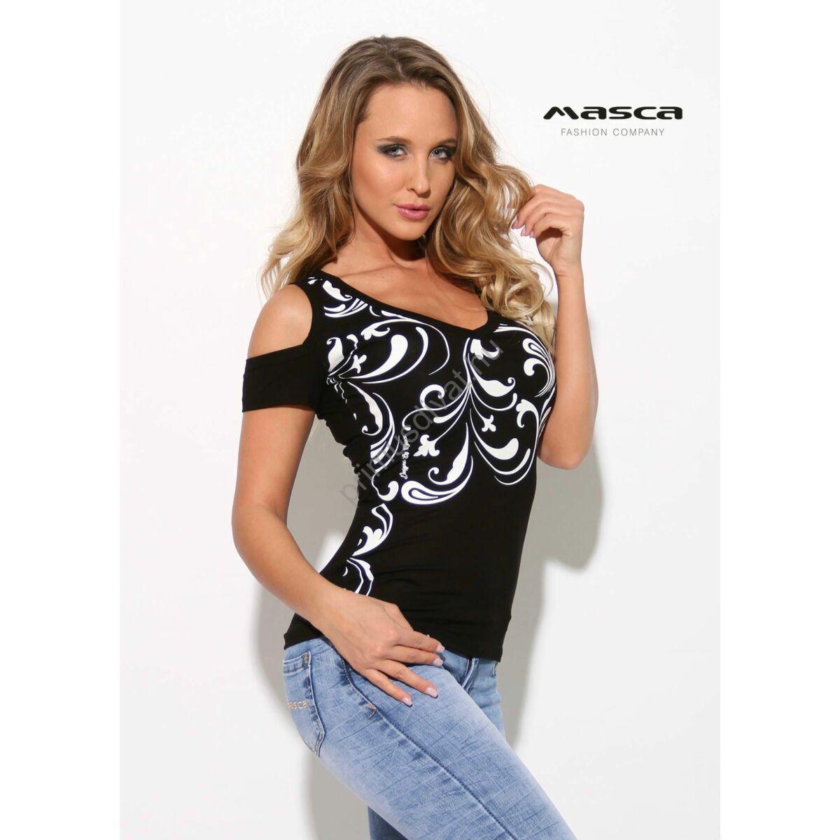 07dcfd7846 Kép 1/1 - Masca Fashion nyitott vállú, V-nyakú fekete felső, elején nyomott  fehér indamintával