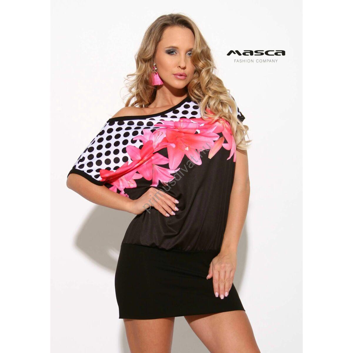 c2020a69fd Kép 1/1 - Masca Fashion csónaknyakú, denevérujjú, virágos-pöttyös lezser  fekete tunika, miniruha