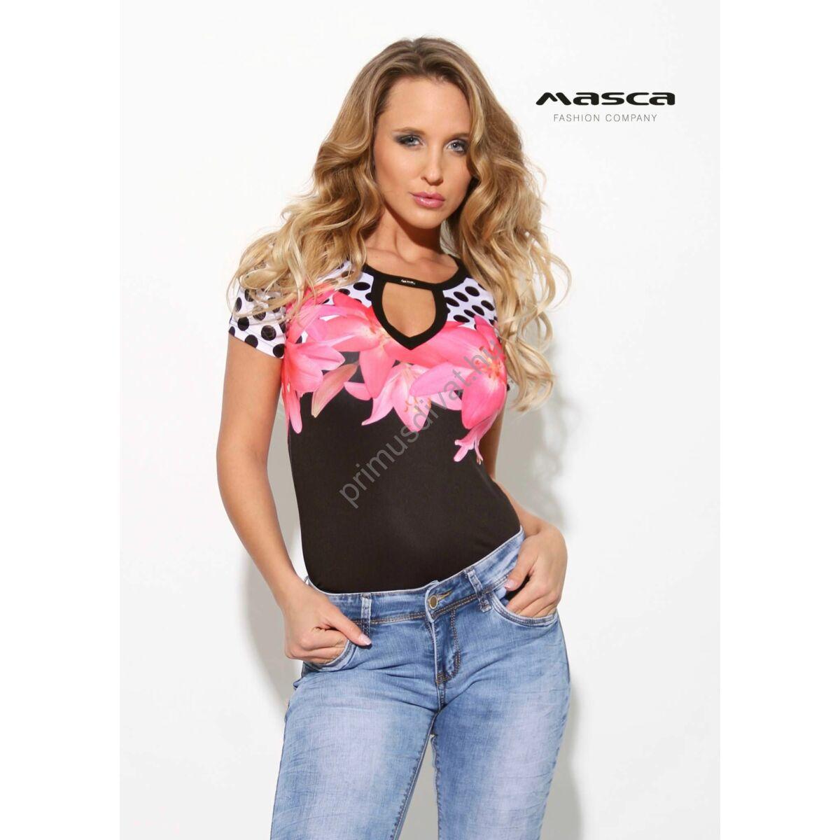9fff82cefc Kép 1/1 - Masca Fashion kivágott dekoltázsú virágos-pöttyös rövid ujjú szűk  fekete felső