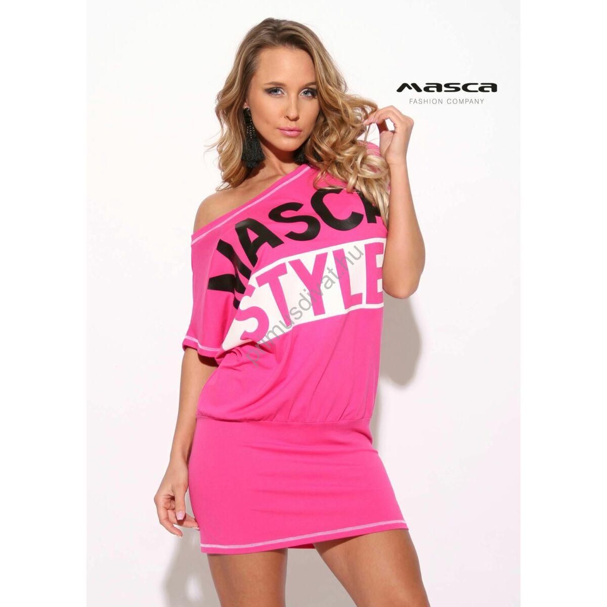 f3b24b5805 Kép 1/1 - Masca Fashion csónaknyakú, rövid denevérujjú, fekete tűzésű pink  bő tunika, miniruha, fekete-fehér nyomott mintával