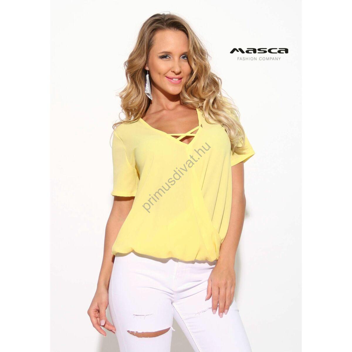 925d16cc2 Masca Fashion pánttal összefogott V-nyakú lezser, rövid ujjú sárga felső,  alján gumis behúzással - Mf910-17