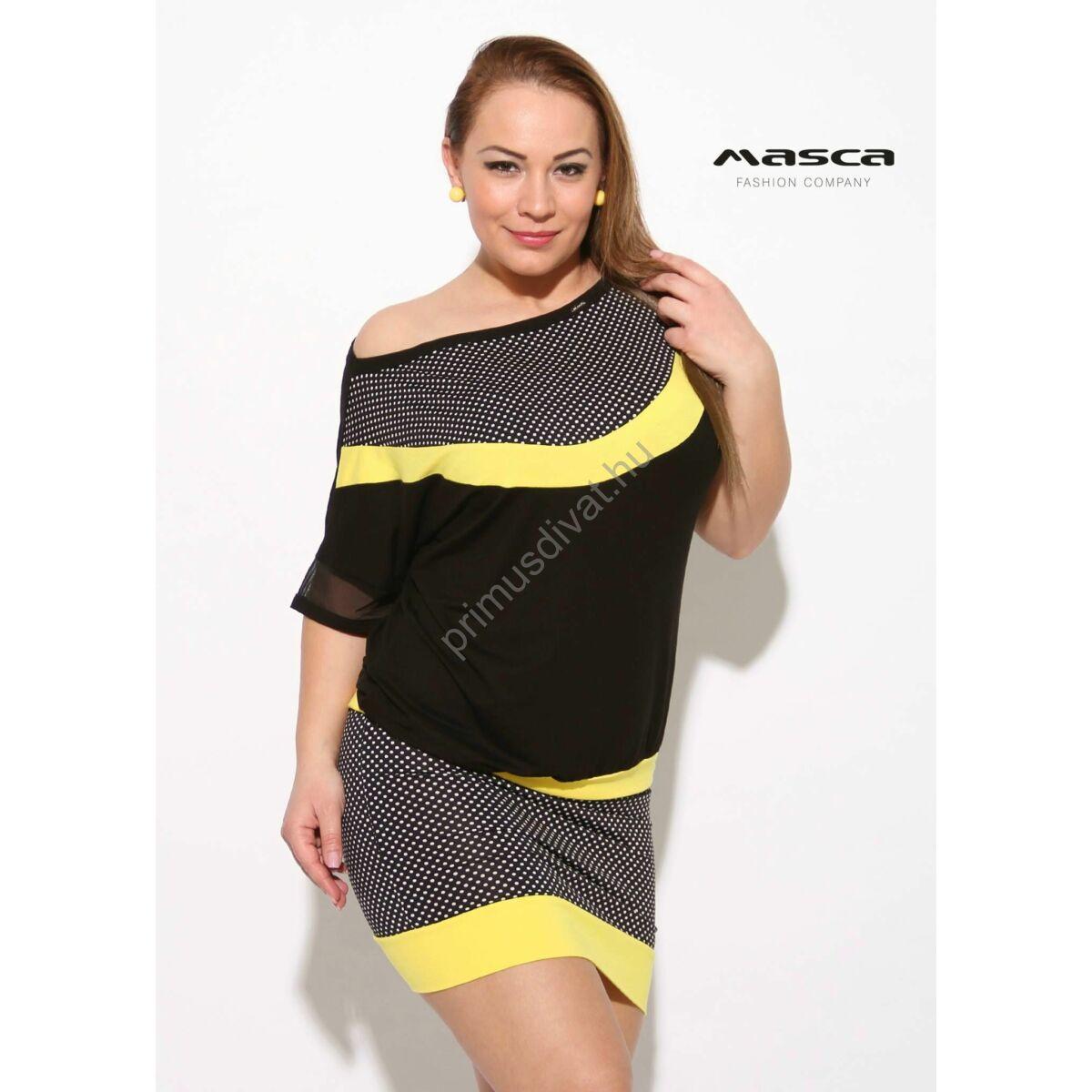 6187f5350a Kép 1/1 - Masca Fashion sárga betétes apró fehér pöttyös fekete csónaknyakú  rövid ujjú lezser tunika, miniruha