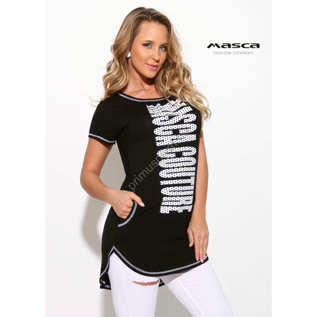 10241e0f2e Kép 1/1 - Masca Fashion fehér tűzésű rövid ujjú fekete zsebes tunika, alján  íves szabással, elején nyomott pöttyös fehér márkafelirattal