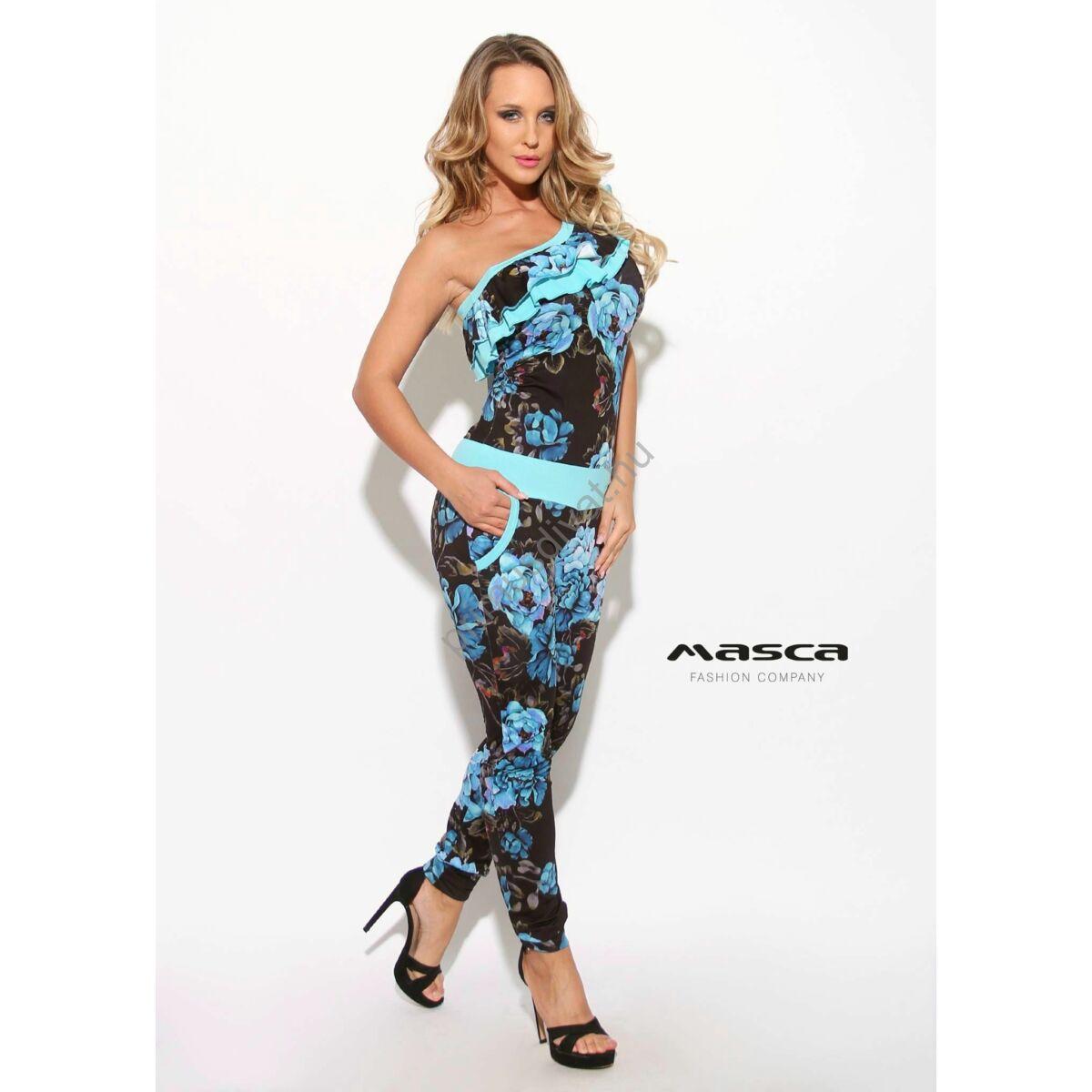 342ed5649c Kép 1/1 - Masca Fashion fodorszegélyes aszimmetrikus váll-szabású, élénk  kék virágos hosszú nadrágos overál