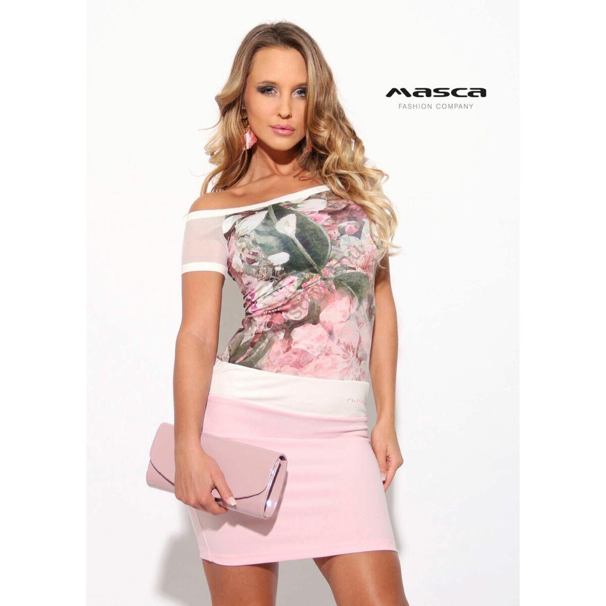 3ffc49264 Masca Fashion vállra szabott muszlin rövid ujjú, virágmintás rózsaszín  miniruha - Mf913-35
