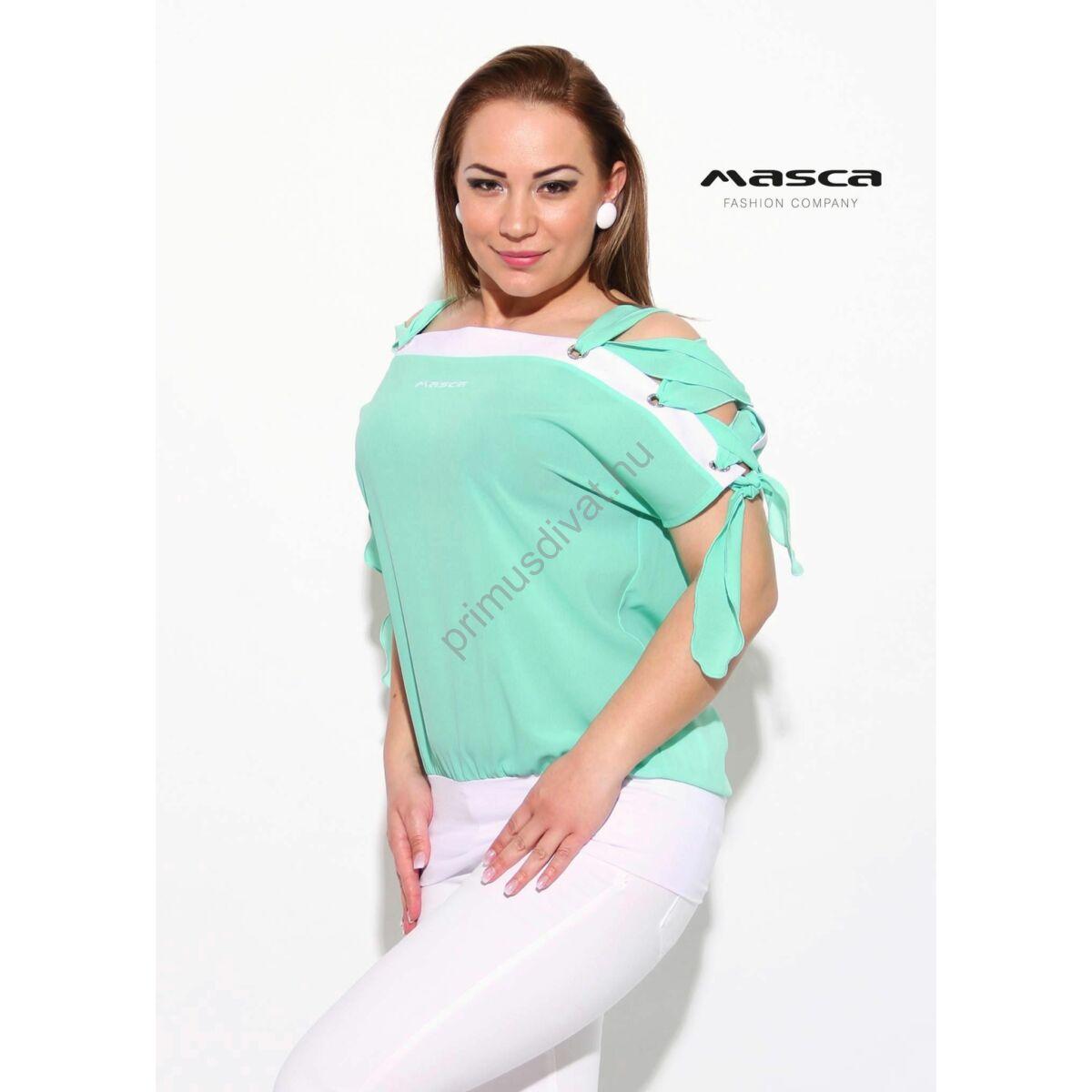 7c4fe3dab5 Kép 1/1 - Masca Fashion ékszerkarikás fűzős vállú, fehér betétes menta-zöld  lezser felső