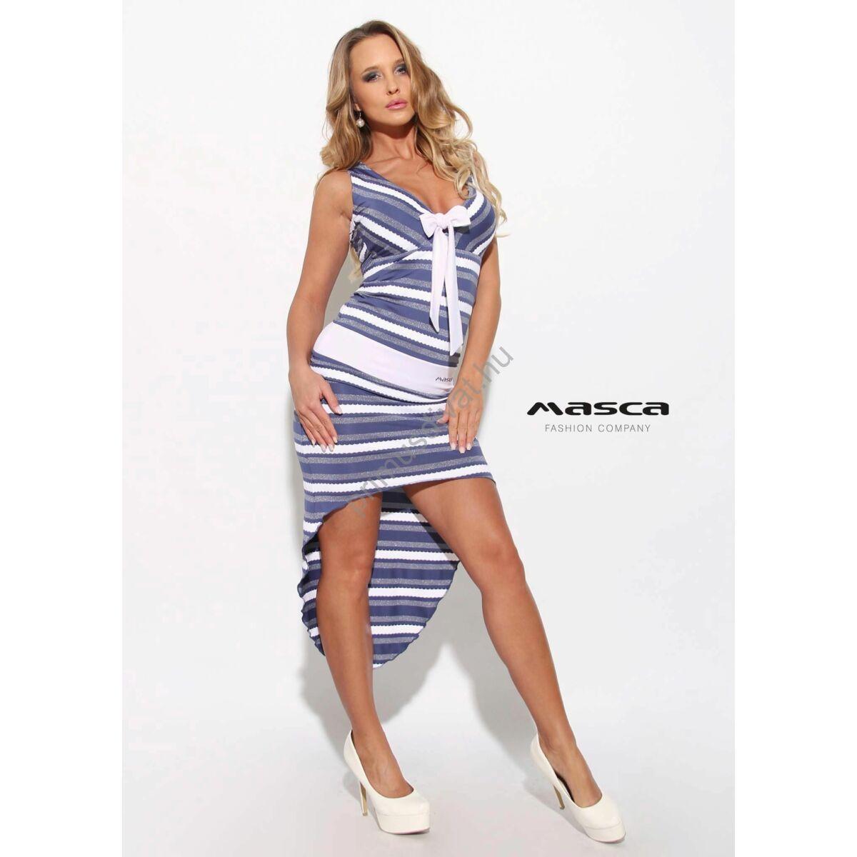 627ff66ab7 Masca Fashion fehér kötős dekoltázsú, lurexes kék-fehér csíkos ujjatlan  ruha, hátul ívelten