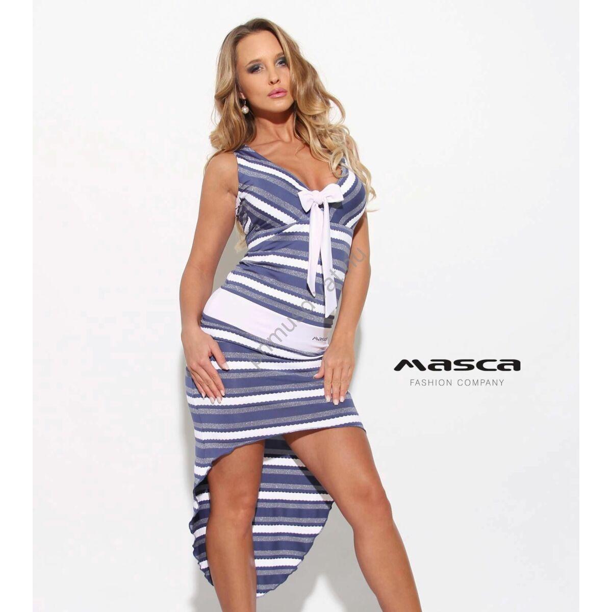 8b395816d6 Kép 1/2 - Masca Fashion fehér kötős dekoltázsú, lurexes kék-fehér csíkos ujjatlan  ruha, hátul ívelten hosszabb szabással
