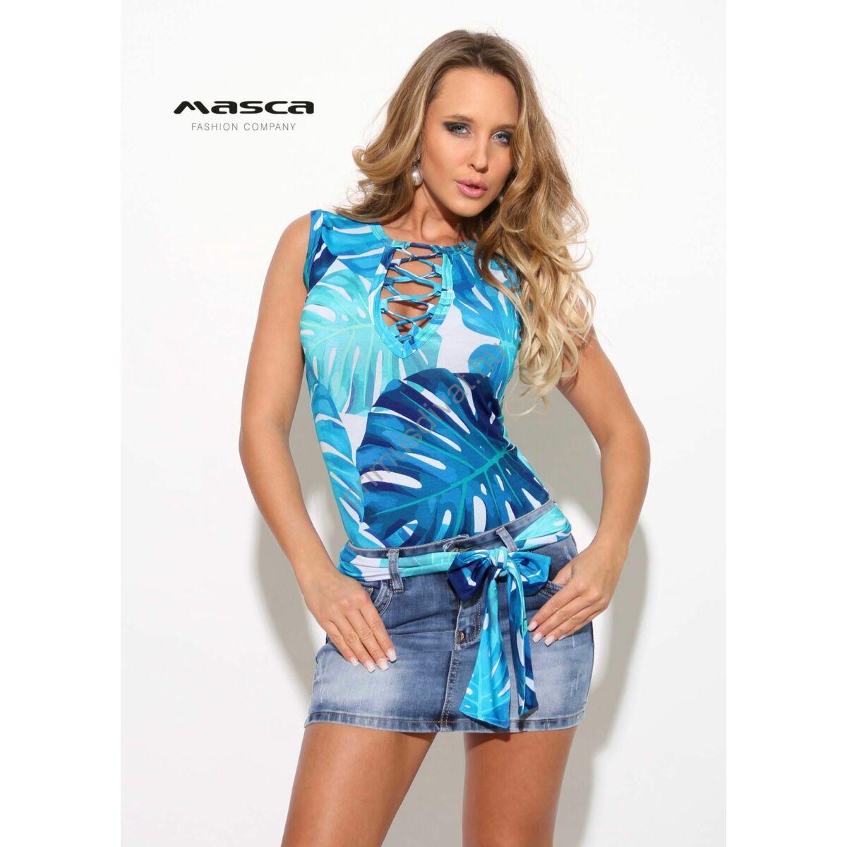 1cdd38c217 Kép 1/1 - Masca Fashion fűzős dekoltázsú, kék filodendron mintás szűk  ujjatlan felső, megkötős övvel