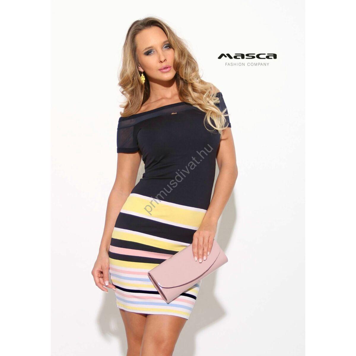 923f3646f5fc Kép 1/1 - Masca Fashion vállra szabott rövid muszlin ujjú, sárga-fehér-rózsaszín  csíkbetétes sötétkék szűk miniruha