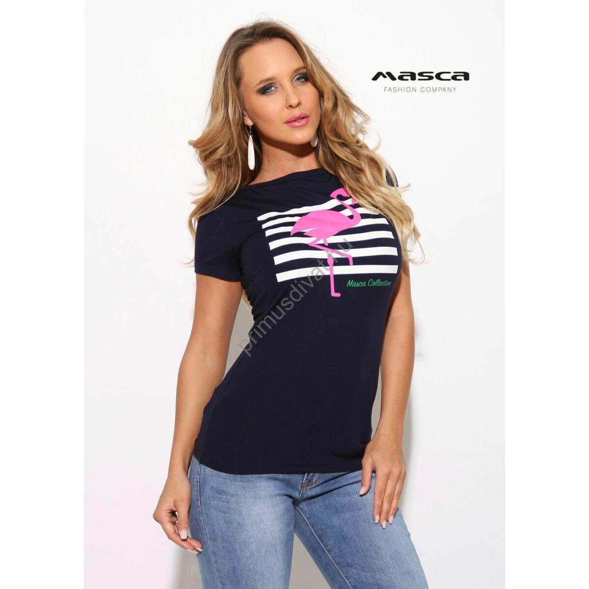 2ba7f40b5a Kép 1/1 - Masca Fashion csónaknyakú sötétkék rövid ujjú felső, nyomott pink  flamingóval, fehér csíkmintával