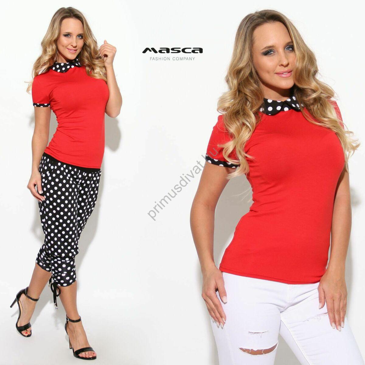 5f2fefb5ff Kép 1/1 - Masca Fashion fekete-fehér pöttyös galléros rövid ujjú szűk piros  felső